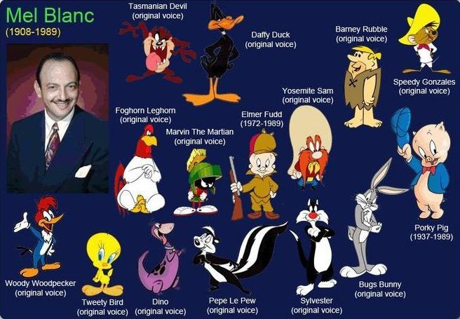Cartoon Characters Voices : Mel blanc looney method actor animal my soul