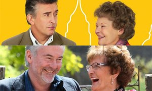Above - Steve Coogan and Judi Dench  Below - the real Martin Sixsmith & Philomena Lee