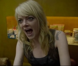 Emma Stone as Sam gives Birdman a piece of her mind.