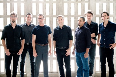 The men in (mostly) black - Calexico tour band. L/R: Ryan Alfred, Sergio Mendoza, John Convertino, Joey Burns, Jacob Valenzuela, Jairo Zavala